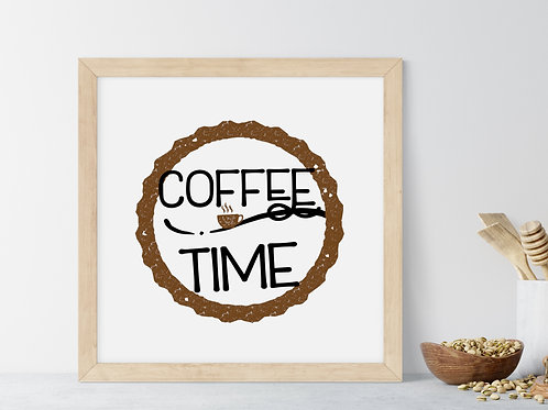 coffee time sign art black and brown in wood sign