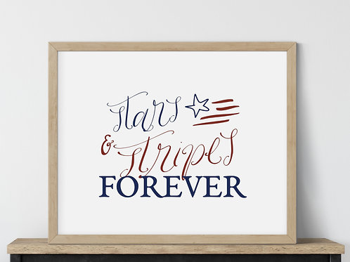 Stars and Stripes forever red and blue sign printed with wood frame