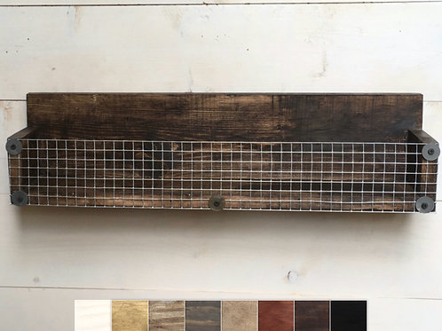 22 inch rustic basket shelf with choice of colors