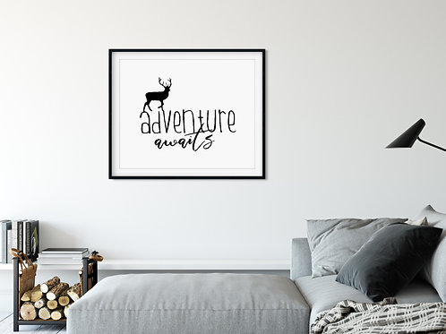 adventure awaits sign in frame over couch