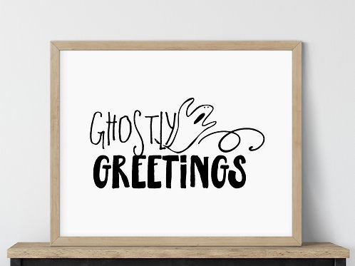halloween sign that reads ghostly greetings using printable art