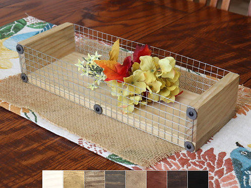 16 inch wood tray centerpiece displaying flowers with choice of wood stain colors