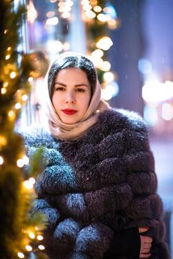 Фотосъемка девушки в ночной Москве
