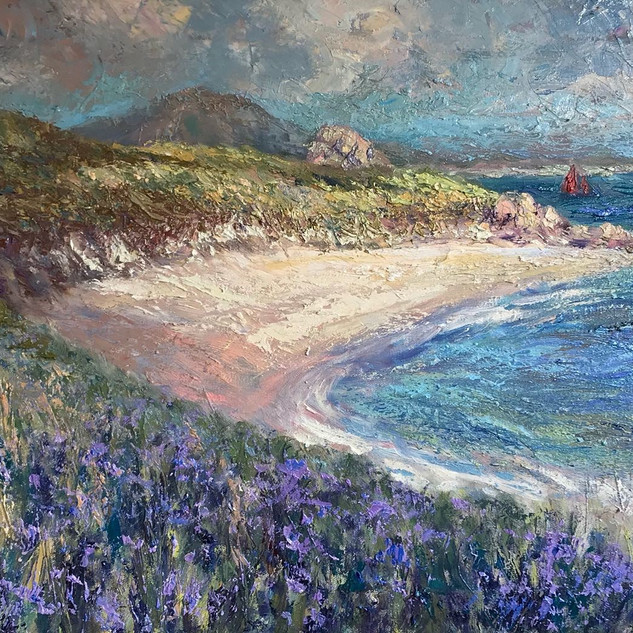 Agapanthus_-_Rushy_Porth,_Oil_on_Canvas_