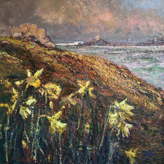 The_Old_Blockhouse_Daffodils,_Oil_on_Can