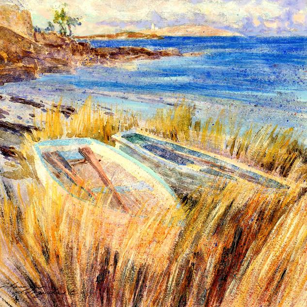 Green Porth, Tresco Beached boats