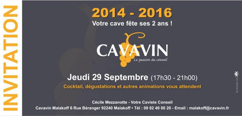 Invitation aux 2 ans de Cavavin Malakoff