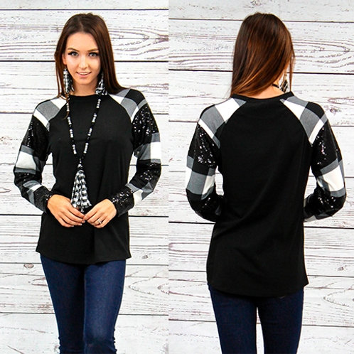 Plaid and Sequin Long Sleeve Top