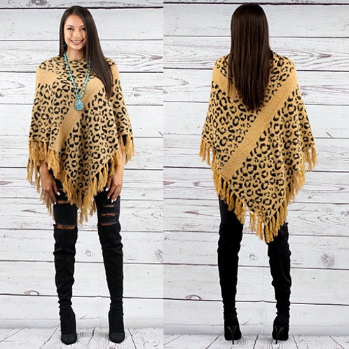 Leopard Poncho With Fringe