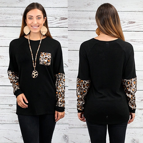 Knit Waffle Top with Leopard Sequin