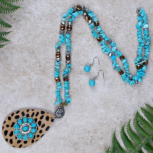 Leopard and Turquoise Flower Necklace