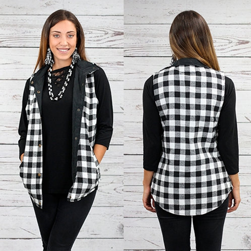 Buffalo Plaid Reversible Vest with Pockets