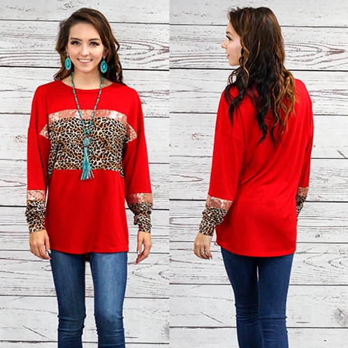 Red Leopard and Sequin Long Sleeve Top
