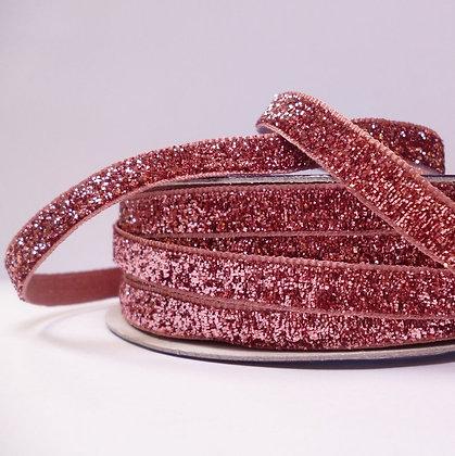 10mm LUXURY Glitter Velvet Ribbon :: Blush