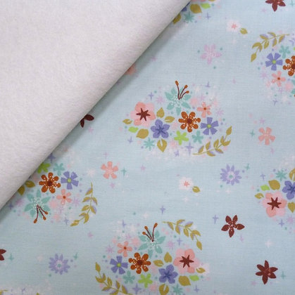 Fabric Felt :: Neverland Flowers :: Mint on Natural