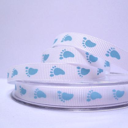 Baby Feet Grosgrain Ribbon :: white with blue feet
