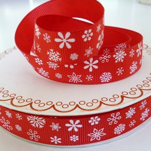 Bertie Bows Ribbon :: Snowflakes on Red
