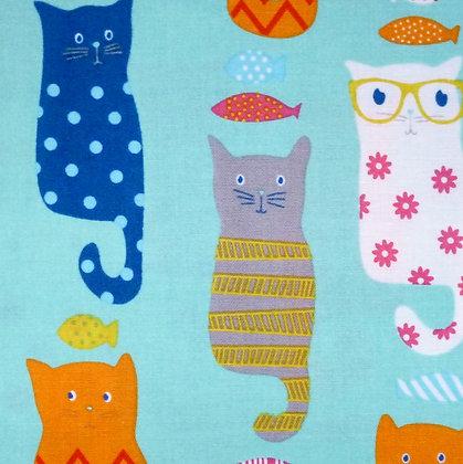 Fabric :: Novelty Cats :: Blue