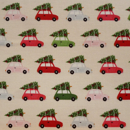 Fabric :: Merry/Bright :: Tree Topped Cars