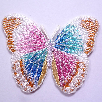 Embroidered Motif :: Glittery Butterfly :: White