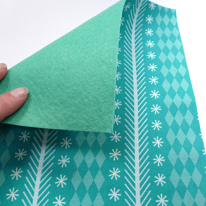 Fabric Felt :: Snowflake Stripe on Sea green