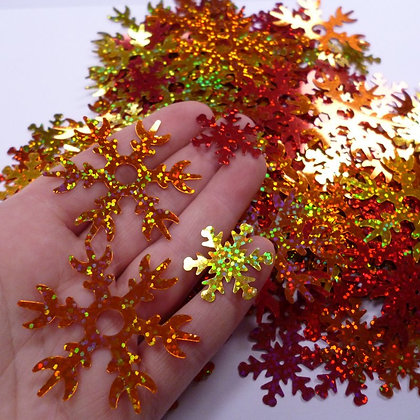 Snowflake sequins in reds & golds