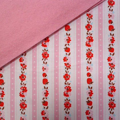 Fabric Felt :: Milk/Sugar/Flower Strawberry Stripe on Baby Pink