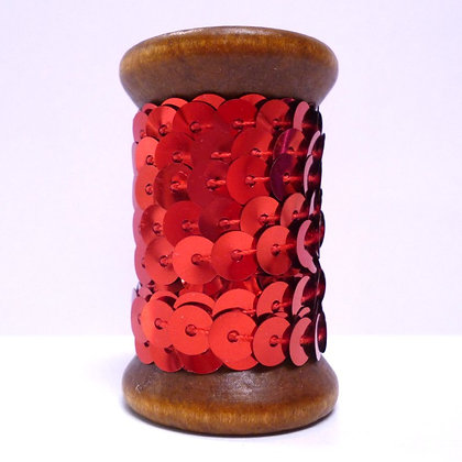 Sequins On A Wooden Spool :: Red