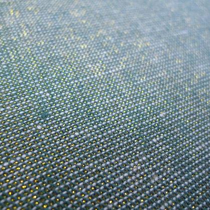 Fabric :: Essex Yarn Dyed Metallic :: Sea Green & Gold