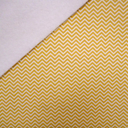 Fabric Felt :: Mini Chevron Mustard on White