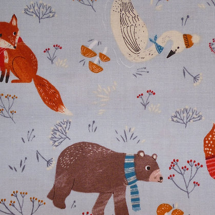 Fabric :: Dreaming of Snow :: Light Denim Cosy Animals