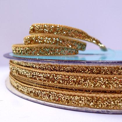 5mm Glitter Velvet Ribbon :: Pale Gold