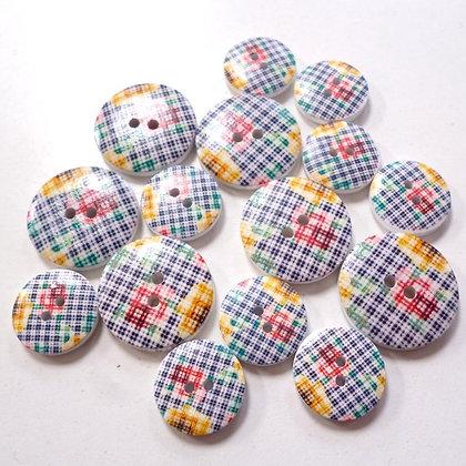 Wooden Button Pack :: Checker Flowers