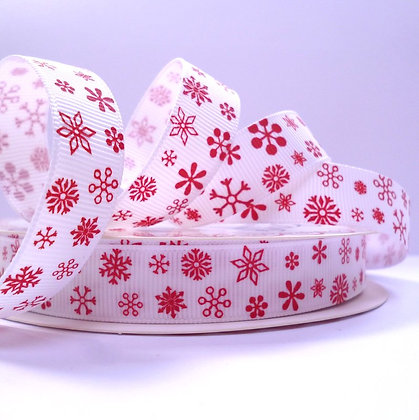 Bertie Bows Ribbon :: Red Snowflakes on White