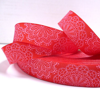 Embroidered Ribbon :: Red & Pink Doilies