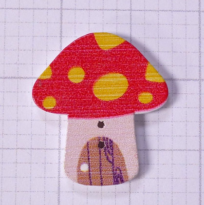 Wooden Mushroom Button :: Red & Yellow