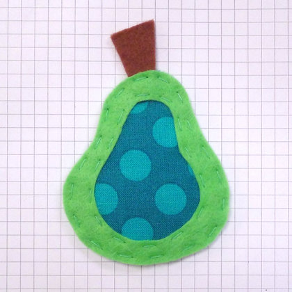 Ta Dot Teal :: Pear :: Handmade Embellishment
