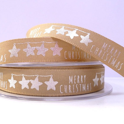 Foiled Merry Christmas Ribbon :: Silver