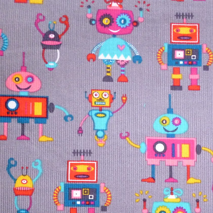 Fabric :: Corduroy :: Robots on Grey