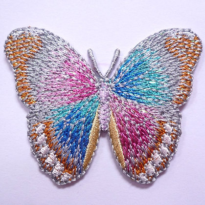 Embroidered Motif :: Glittery Butterfly :: Silver