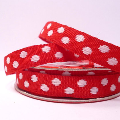 2m Spool :: Woven Dots :: Red & White
