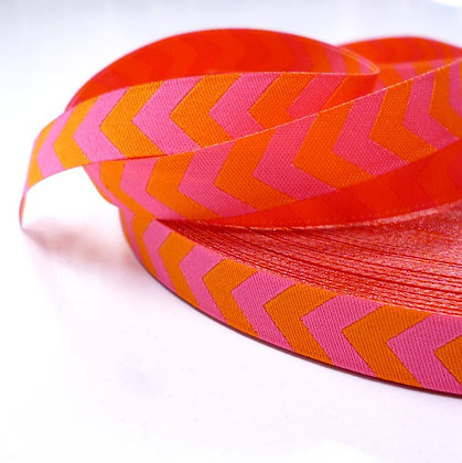 Embroidered Ribbon :: Pink & Orange Chevron