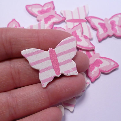 SALE :: Wooden Butterflies :: Pink Stripes