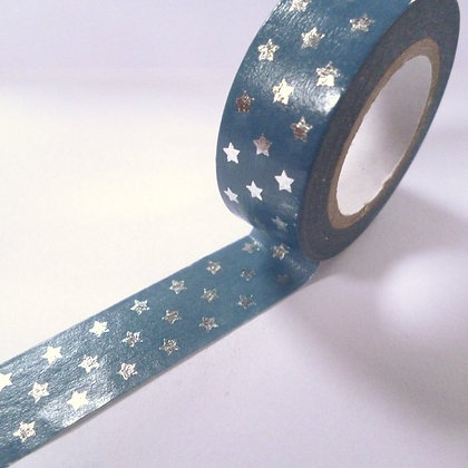 Washi Tape Roll :: Tiny Silver Stars on Blue