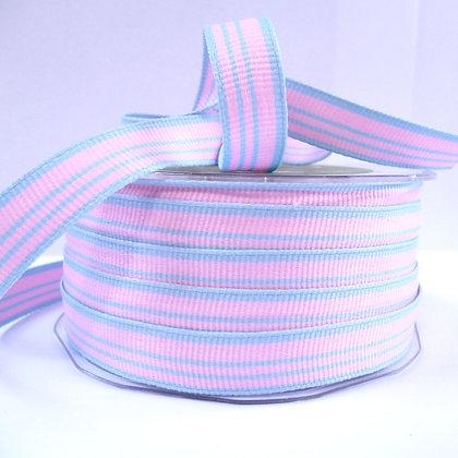"""1/2"""" Stripe Ribbon :: Blue & Pink"""