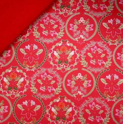 Artisan Fabric Felt :: Poinsetta Wreath (red) on Red