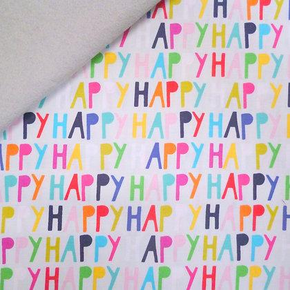 Fabric Felt :: Happy! :: Grey Words on Silver Grey