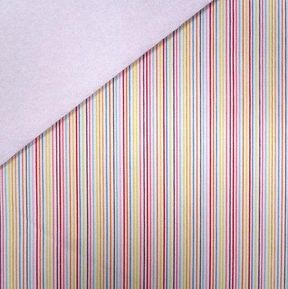 Fabric Felt :: Bittersweet Tiny Rainbow Stripe on White