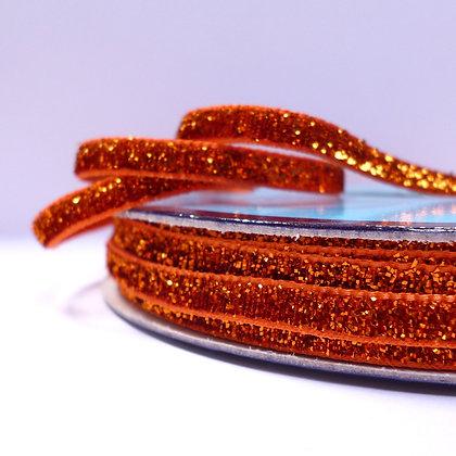 5mm Glitter Velvet Ribbon :: Bright Orange
