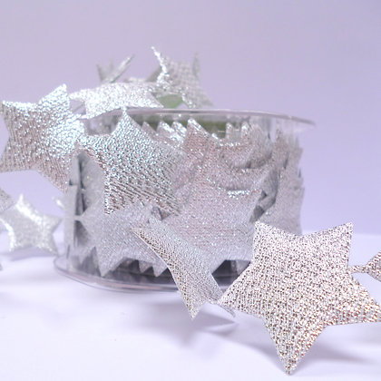 Cut Out Ribbon :: Large Silver Stars (per half metre)